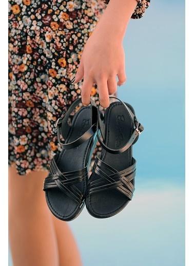 Pembe Potin A218-20 Kadın sandalet Siyah
